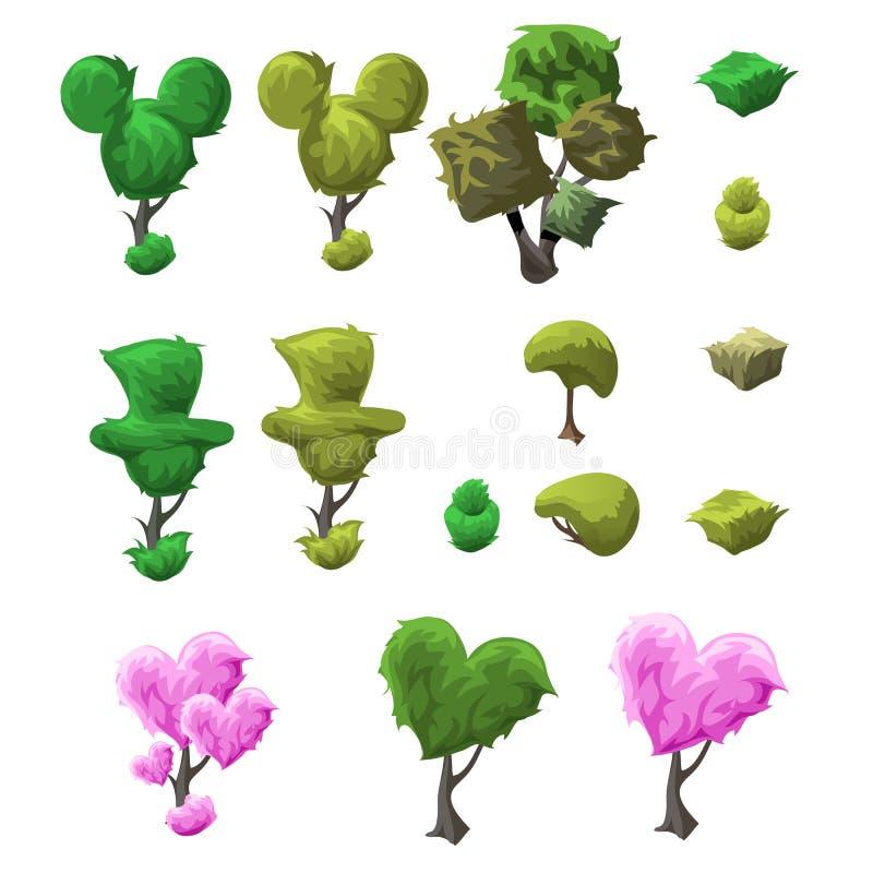Grupo grande da árvore do topiary de vários formulários ilustração royalty free