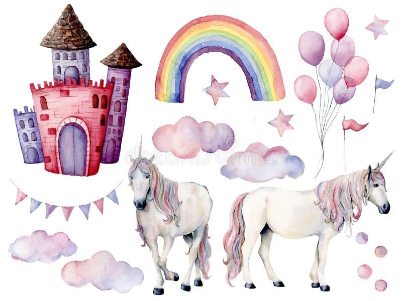 Grupo grande da aquarela com unicórnios e decoração do conto de fadas Cavalos mágicos pintados à mão, castelo, arco-íris, nuvens, ilustração stock