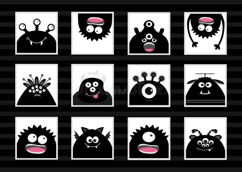 Grupo grande da cabeça preta do monstro Caráter assustador da silhueta dos desenhos animados bonitos Coleção do bebê Fundo branco ilustração do vetor