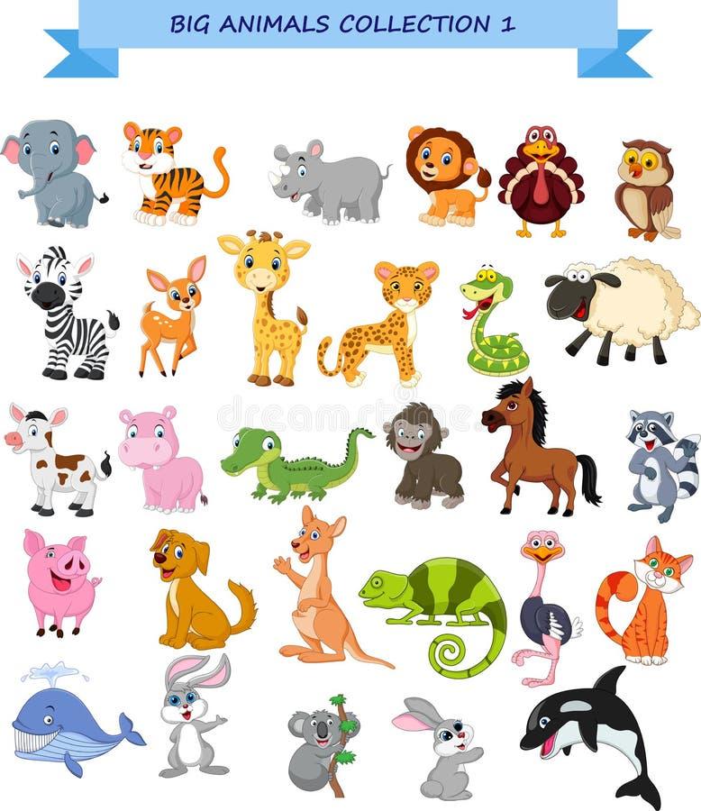 Grupo grande da coleção dos animais ilustração royalty free