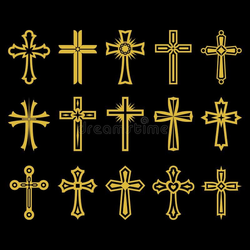 Grupo grande da cruz do vetor, coleção de elementos do projeto para criar logotipos Símbolos cristãos ilustração do vetor