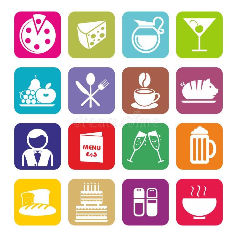 Grupo grande de ícones do café e do restaurante Projeto liso ilustração royalty free