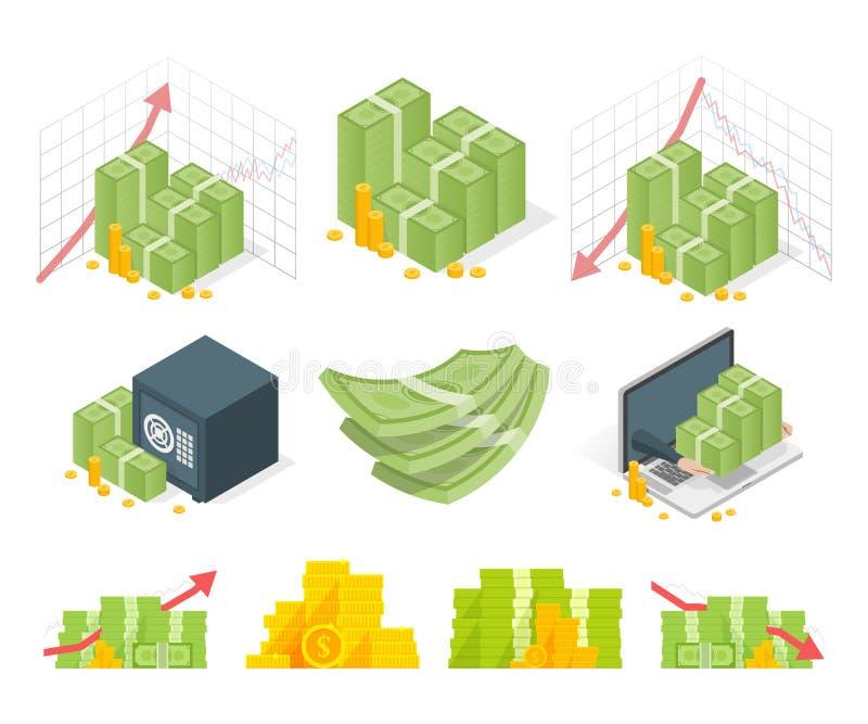Grupo grande de ícones do dinheiro Dólares e moedas das pilhas Ilustração isométrica ilustração stock