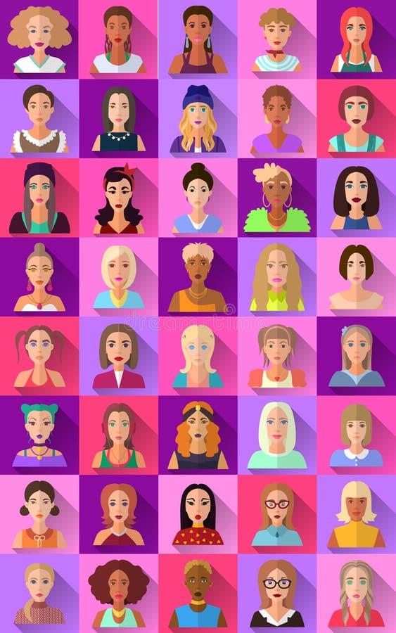 Grupo grande de ícones lisos de vários caráteres fêmeas ilustração do vetor