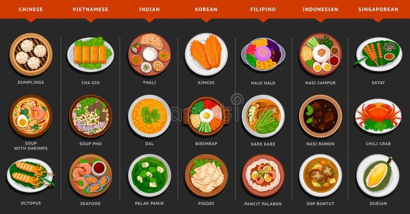 Grupo grande de alimento asiático ilustração royalty free