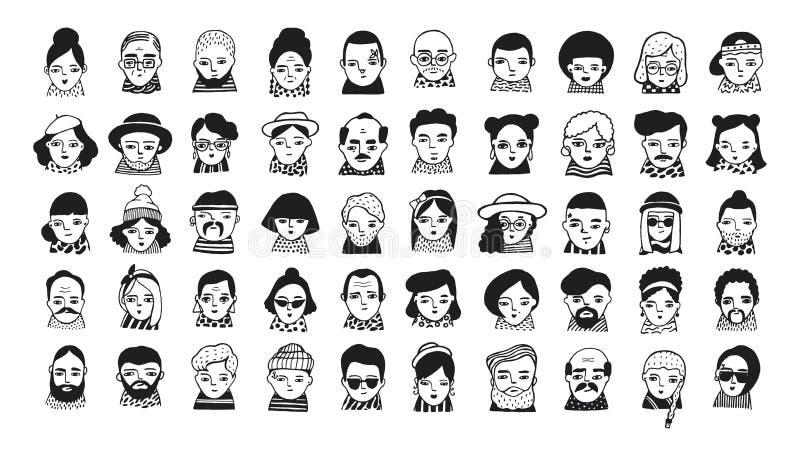 Grupo grande de avatars dos povos para meios sociais, Web site Meninas elegantes e indivíduos dos retratos da garatuja Mão na mod ilustração stock