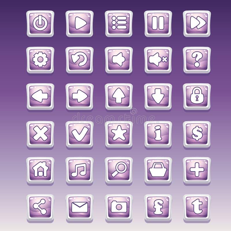 Grupo grande de botões quadrados com imagem glamoroso diferente para a interface de utilizador e o design web ilustração royalty free