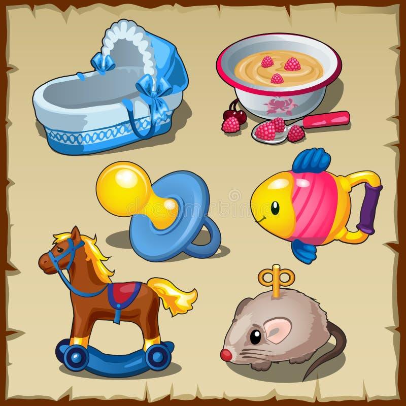 Grupo grande de brinquedos para crianças, alimento e coisas ilustração royalty free