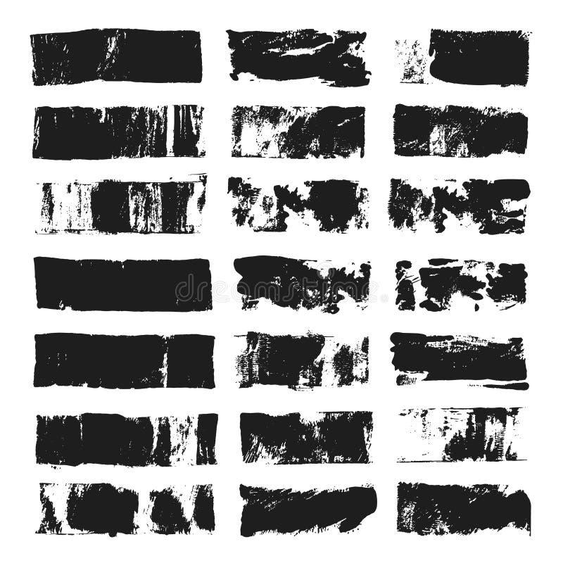 Grupo grande de caixa de texto retangular Listra da pintura do Grunge Curso da escova do vetor Pontos pretos do grunge com lugar  ilustração royalty free