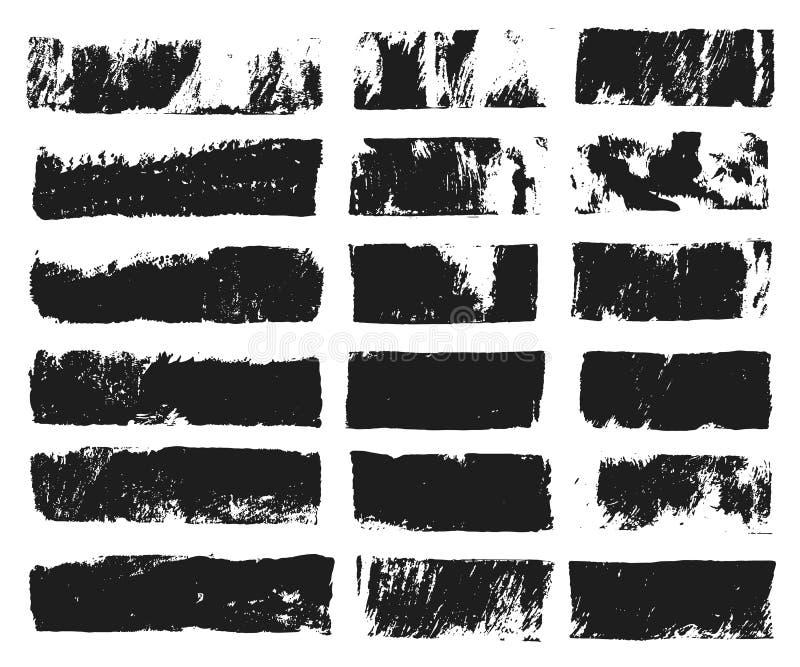 Grupo grande de caixa de texto retangular Listra da pintura do Grunge Curso da escova do vetor Pontos pretos do grunge com lugar  ilustração stock