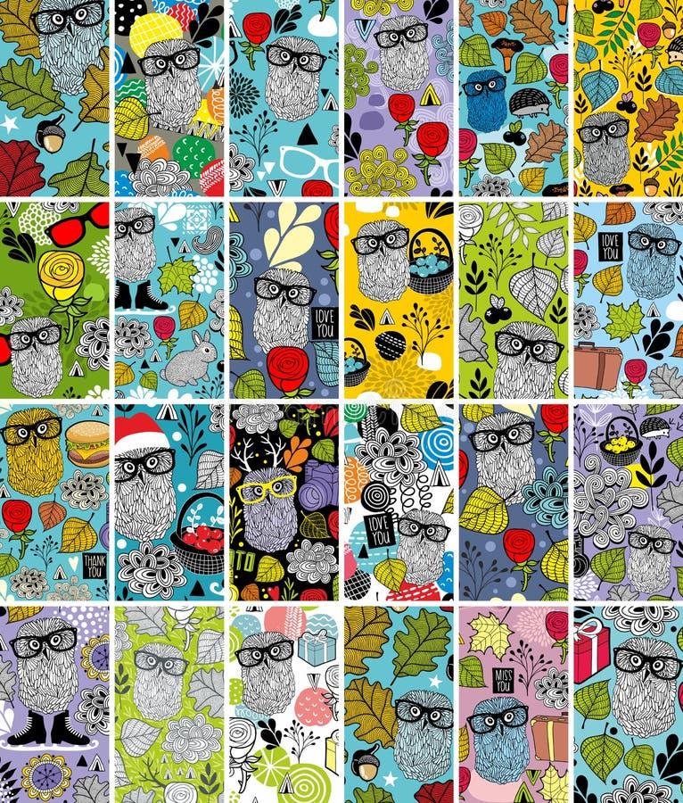 Grupo grande de cartões verticais com imagem floral e as corujas bonitos ilustração royalty free