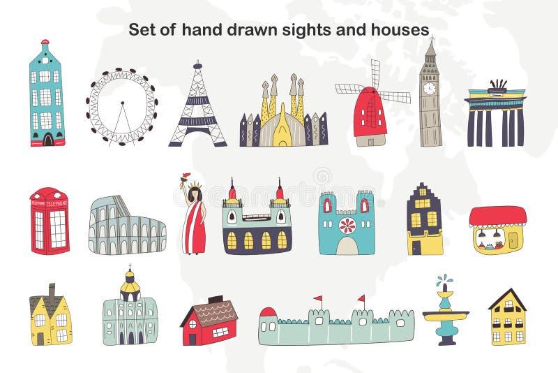 Grupo grande de construções tiradas mão dos desenhos animados e vistas de Europa e de outros países Ilustração do vetor ilustração do vetor