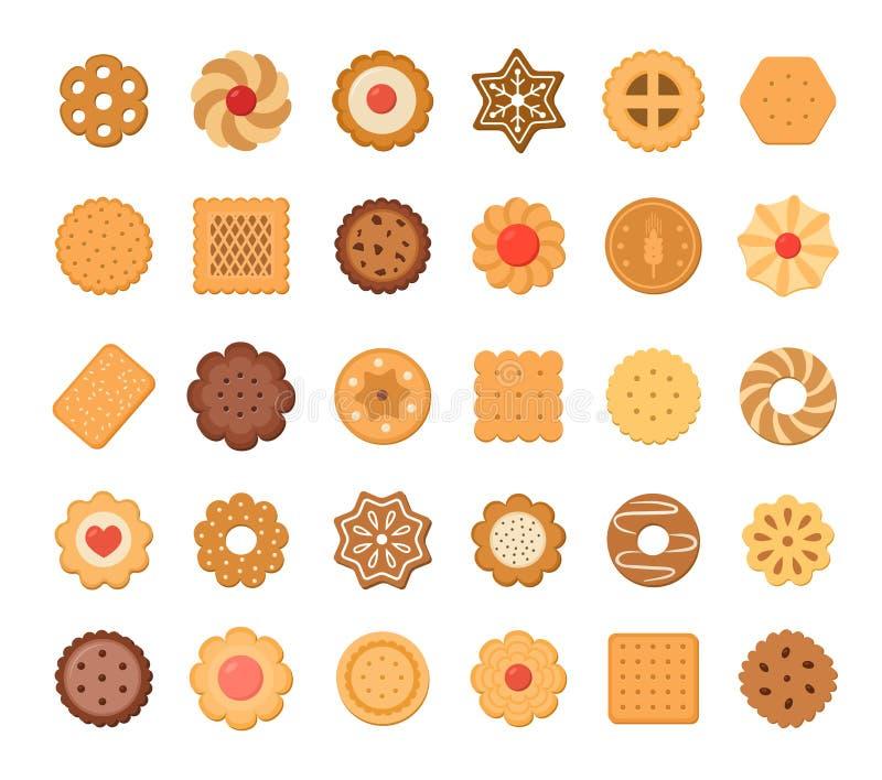 Grupo grande de cookies e de biscoitos Isolado no fundo branco ilustração do vetor