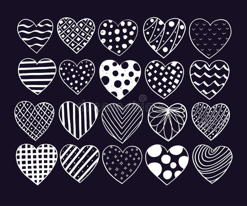 Grupo grande de corações tirados mão Garatuja do esboço do vetor do Valentim Elementos do projeto gráfico Texturas na moda, linha ilustração do vetor