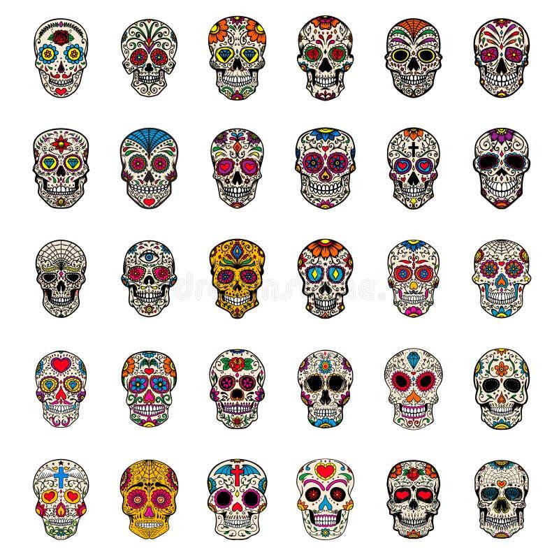 Grupo grande de crânios mexicanos do açúcar isolados no fundo branco Projete o elemento para o cartaz, cartão, camisa de t ilustração do vetor