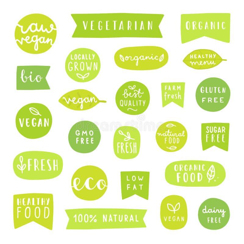 Grupo grande de crachás saudáveis do alimento Bio, orgânico, vegetariano etc. fresco ilustração stock