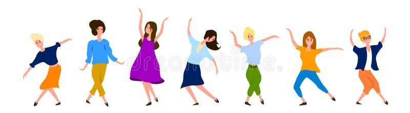 Grupo grande de dançarinos fêmeas isolados no fundo branco O partido das mulheres aprecia no estilo dos desenhos animados ilustração stock