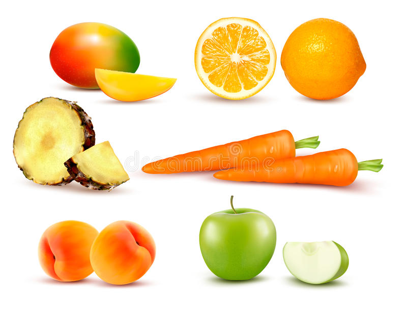 Grupo grande de diversa fruta y verdura libre illustration