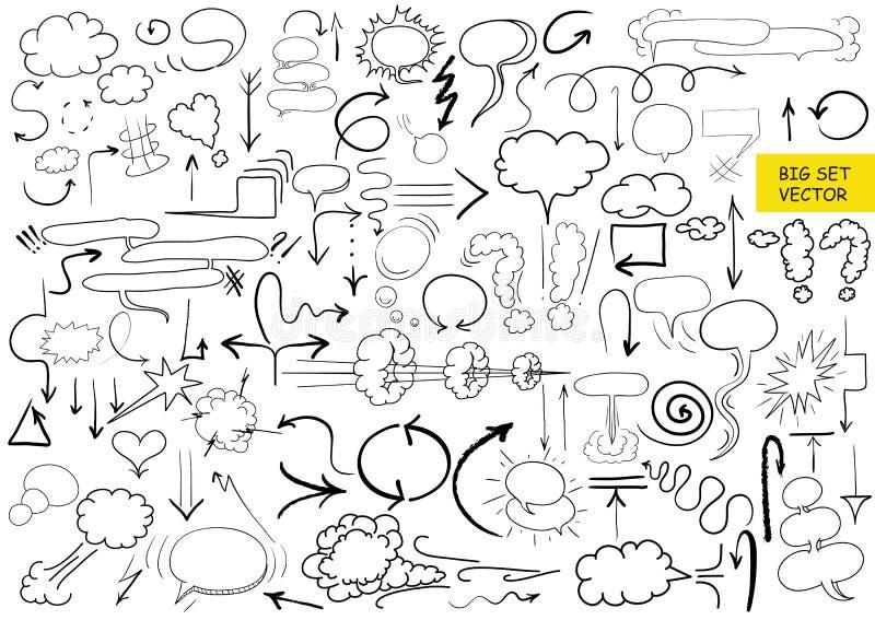 Grupo grande de elementos cômicos, mão tirada, setas do vetor, garatuja ilustração royalty free