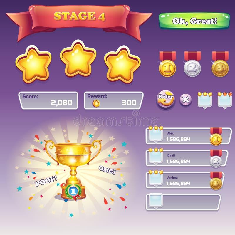 Grupo grande de elementos da relação para jogos de computador e dizayna da Web ilustração royalty free