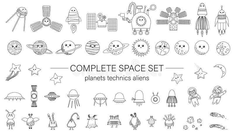 Grupo grande de elementos do espaço para crianças ilustração do vetor