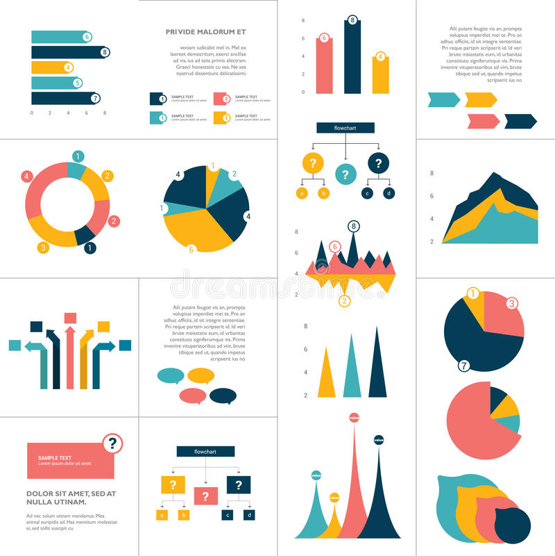 Grupo grande de elementos lisos do infographics A carta, gráfico, diagrama, esquema, fluxograma, borbulha incluído ilustração royalty free