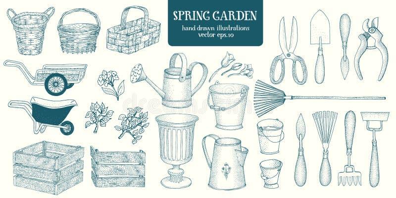 Grupo grande de elementos tirados mão do jardim do esboço Ferramentas de jardinagem novas, bandeja do bastão E ilustração do vetor