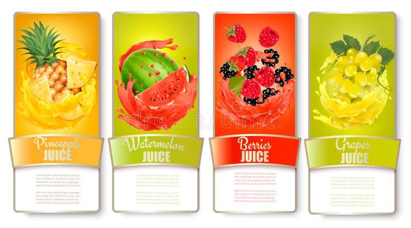 Grupo grande de etiquetas com fruto no respingo do suco ilustração royalty free