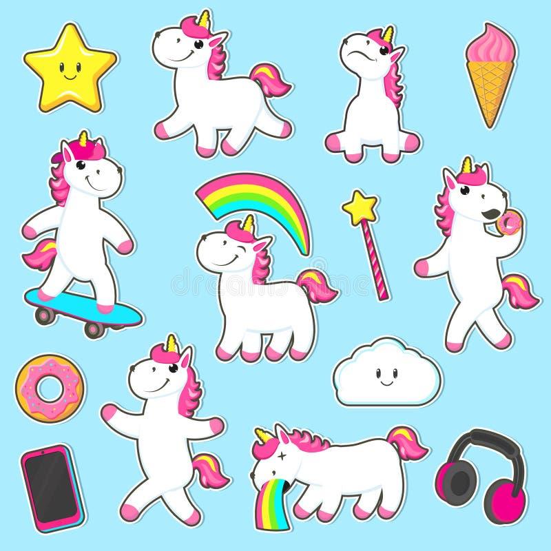 Grupo grande de etiquetas do caráter do unicórnio do arco-íris ilustração stock