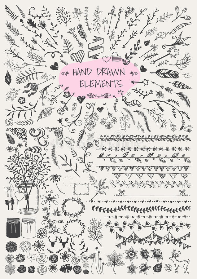 Grupo grande de floral tirado mão, de seta, de quadros decorativos, de beira, de suportes, de frascos de pedreiro, de chifres e e ilustração stock