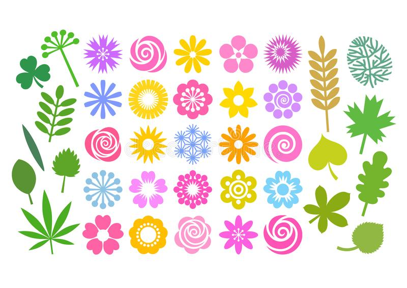 Grupo grande de flores e de folhas no estilo liso dos desenhos animados simples Coleção floral bonito para testes padrões, beiras ilustração do vetor