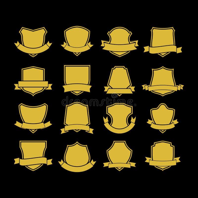 Grupo grande de formas do crachá do vetor, coleção de elementos do projeto para criar logotipos ilustração do vetor