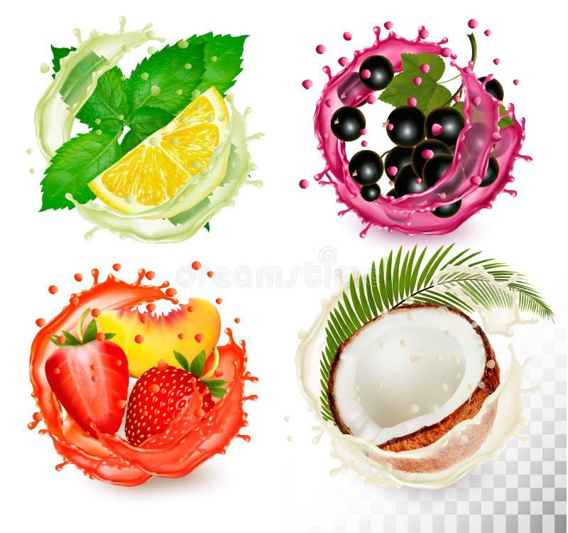 Grupo grande de fruta en iconos del chapoteo del jugo stock de ilustración
