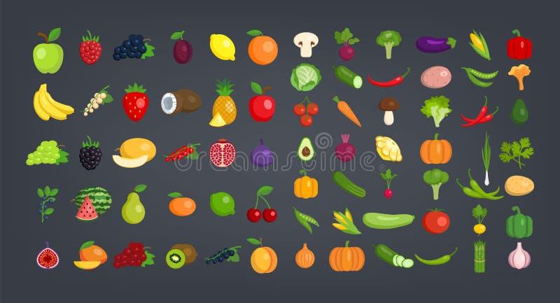 Grupo grande de frutas e legumes ilustração stock