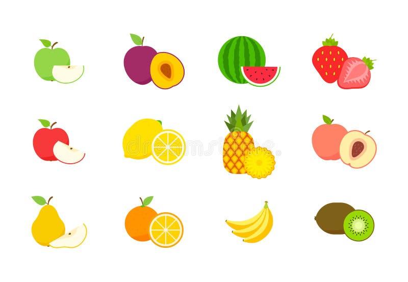 Grupo grande de frutos e de bagas Fruto do ver?o Ma?? do fruto, pera, morango, laranja, p?ssego, ameixa, banana, melancia, abacax ilustração do vetor