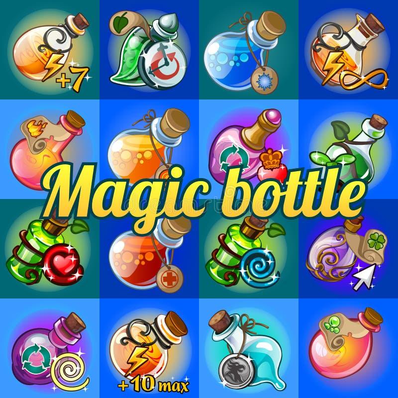 Grupo grande de garrafas mágicas diferentes ilustração royalty free