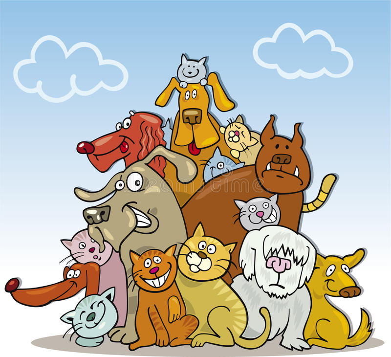 Grupo grande de gatos e de cães