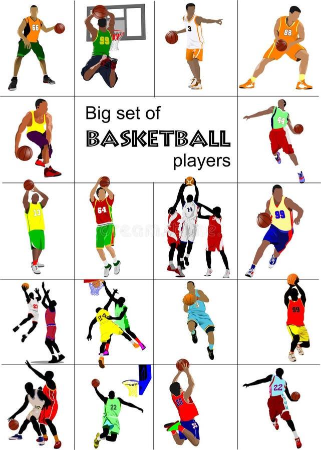 Grupo grande de jogadores de basquetebol , ilustração stock