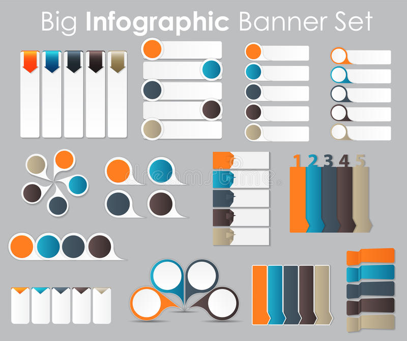 Grupo grande de moldes da bandeira de Infographic para o seu ilustração royalty free