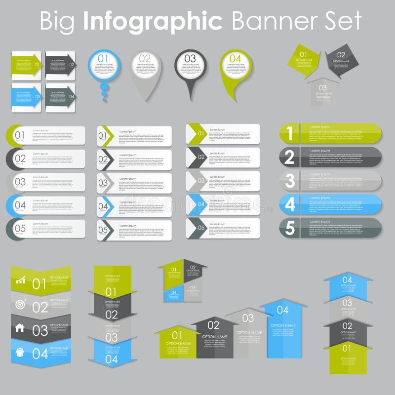 Grupo grande de moldes da bandeira de Infographic para seu vetor do negócio ilustração stock