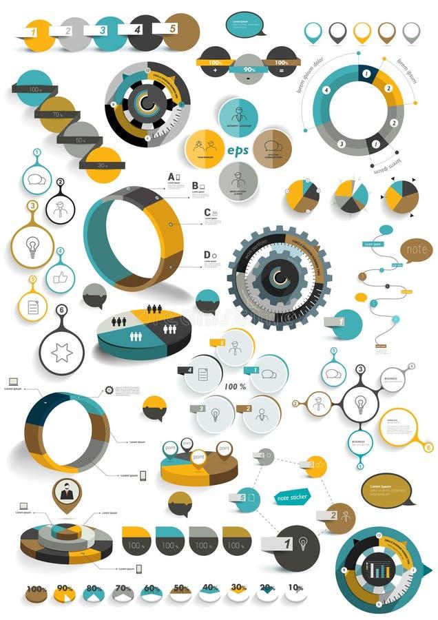 Grupo grande de moldes infographic redondos ilustração royalty free