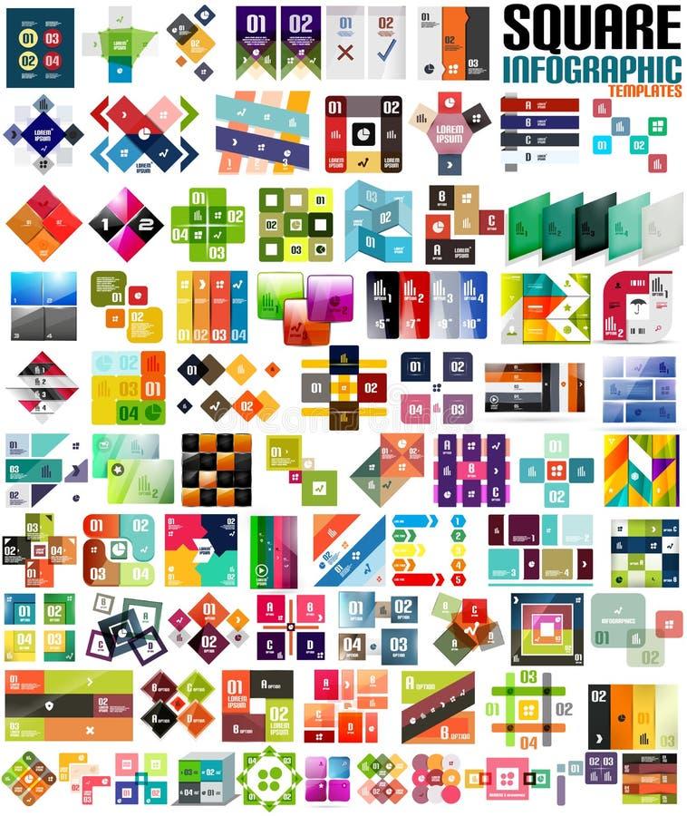 Grupo grande de moldes modernos infographic - quadrados ilustração do vetor