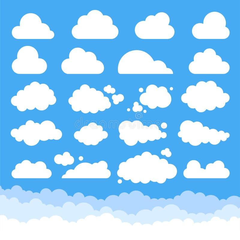Grupo grande de nuvens dos desenhos animados do vetor ilustração royalty free