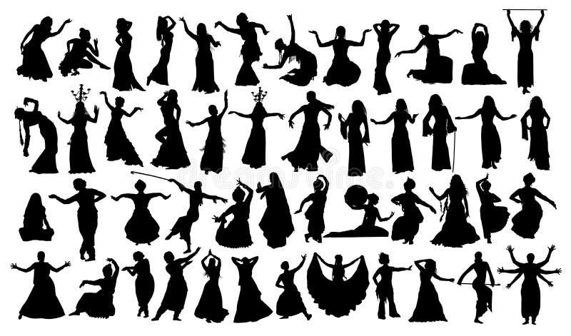 Grupo grande de grupo oriental das silhuetas da dança ilustração stock