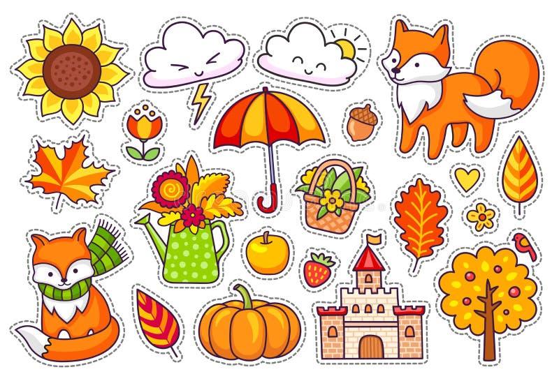 Grupo grande de plantas bonitos do outono, raposas, nuvens, árvores, castelo, guarda-chuva, abóbora ilustração royalty free