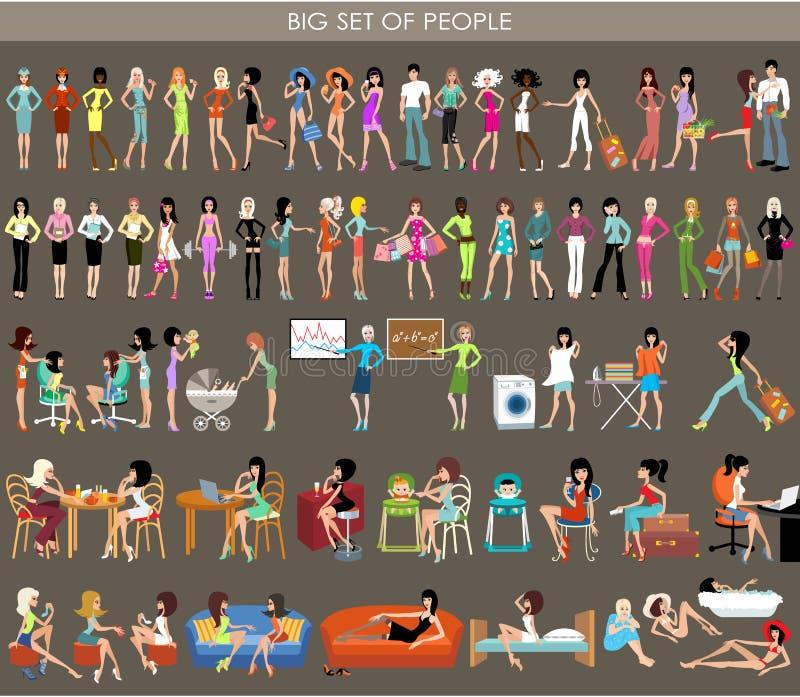 Grupo grande de povos ilustração royalty free