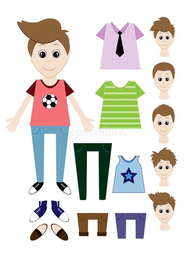 Grupo grande de roupa para o construtor do menino Penteado, vestido, sapatas, calças, t-shirt ilustração stock