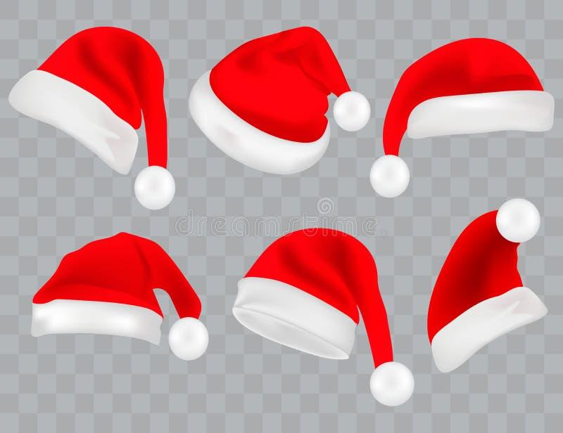 Grupo grande de Santa Hats realística isolado no fundo transparente Colllection do chapéu de Papai Noel do vetor ilustração stock