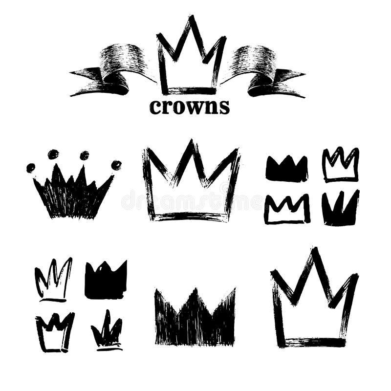 Grupo grande de silhuetas das coroas Ícones pretos do grunge Pintado à mão com uma escova áspera Ilustração do vetor isolado em b ilustração do vetor