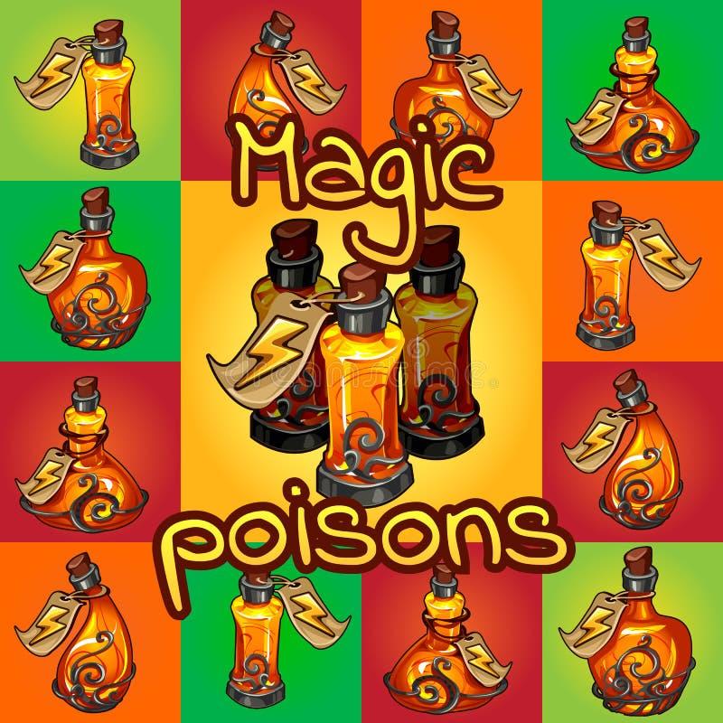 Grupo grande de venenos mágicos diferentes ilustração royalty free